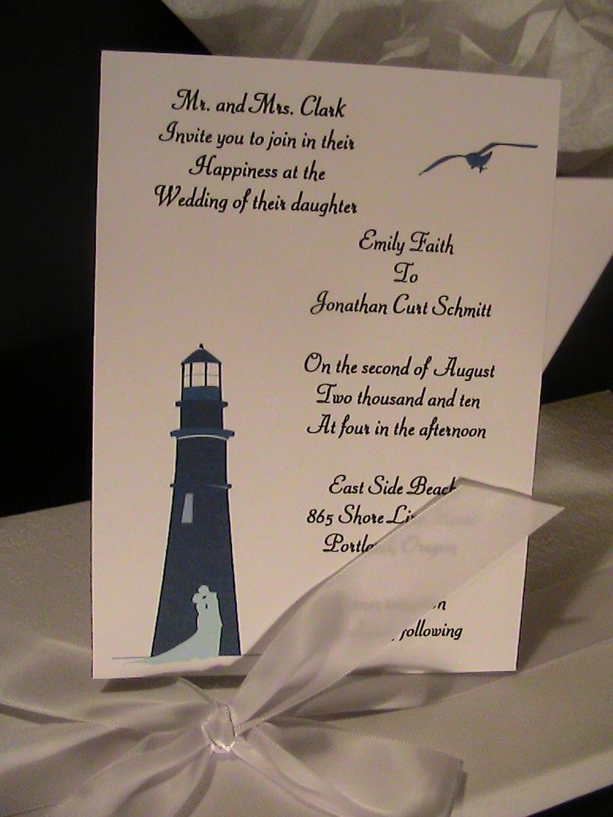 Lighthouse Lovers Purple Peonies Wedding Invitations