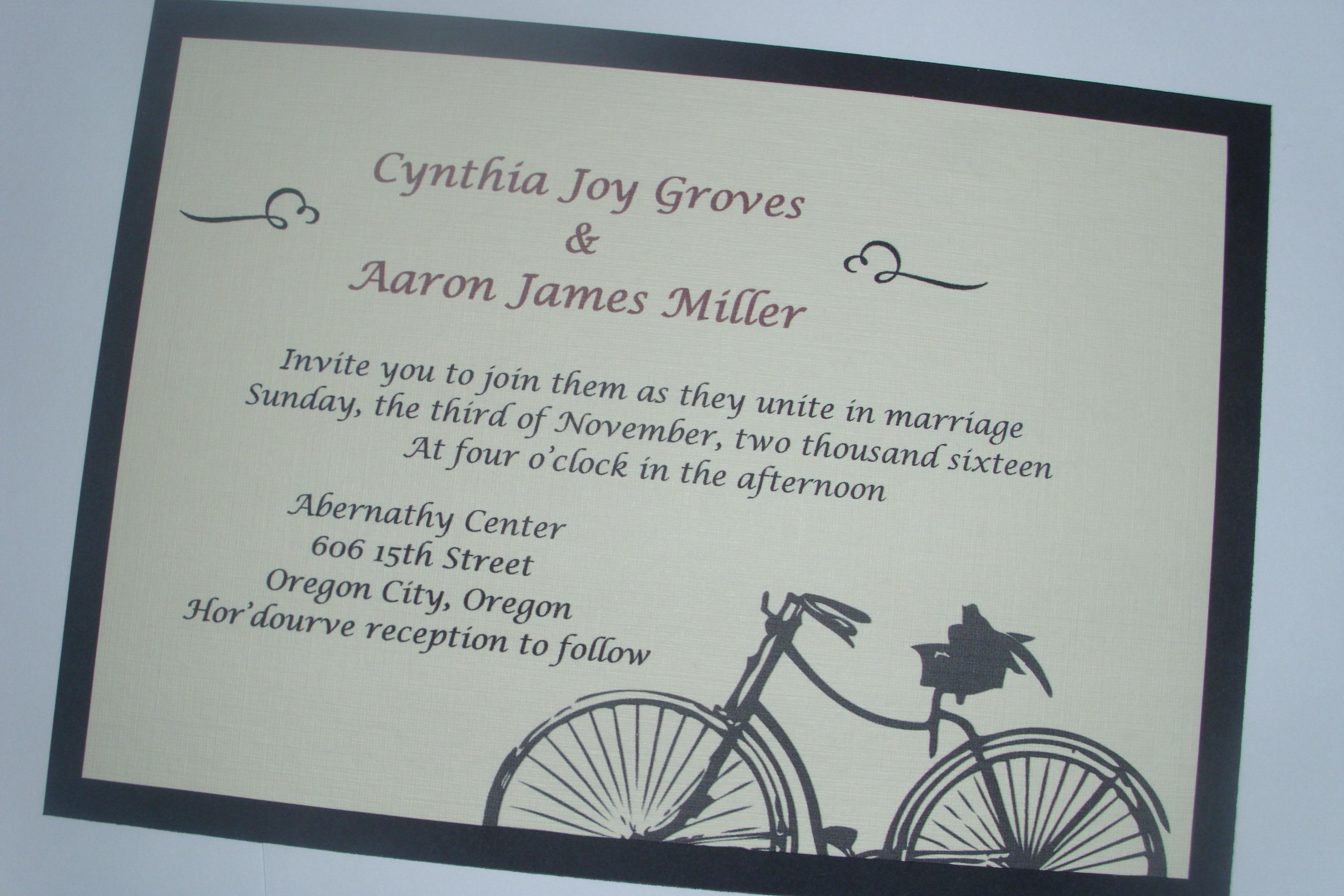 Bicycle   Purple Peonies Wedding Invitations
