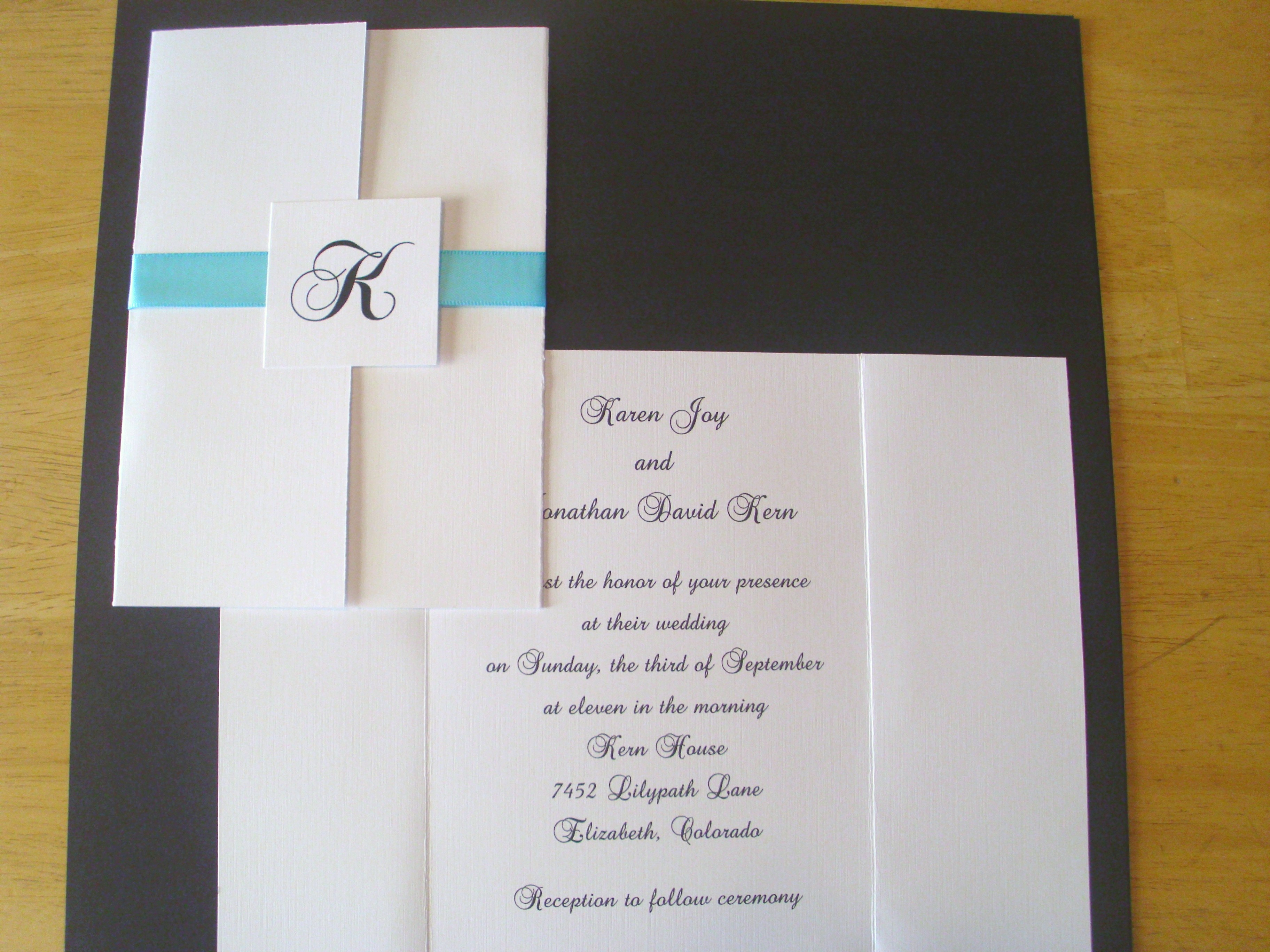 this invitation includes coordinating response card and envelope and ribbon in various colors 179 each